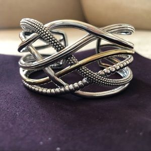 Sterling silver and gold cuff Lagos bracelet